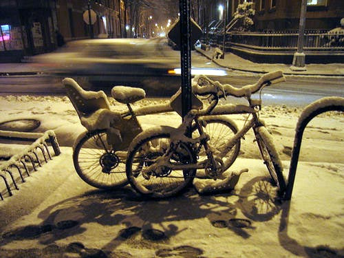 bikes in snow